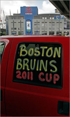 A truck parked in a lot across the street from the Rogers Arena displayed a pro-Bruins message this morning.
