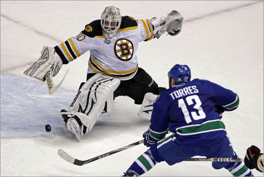 The Canucks' Raffi Torres beat Bruins goalie Tim Thomas for the only goal of Game 1 of the Stanley Cup finals in Vancouver. Torres scored with 18.5 seconds left to give the Canucks a 1-0 victory and a 1-0 lead in the series.