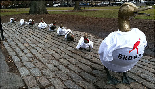 In the lead up to the Super bowl, Boston showed its solidarity with the Patriots by dressing the 'Make Way For Ducklings' statues in the Boston Public Garden with Rob Gronkowski shirts . That got us searching for other dress-up shots of the famous statues. Click through this gallery to look through some of our favorite photos. Have photos of your own with the statues? Share them with us .