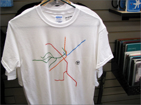 Beaucher and his brother Brian Beaucher have contracted with the MBTA to sell old T memorabilia, as well as products featuring T logos and maps, such as this T-shirt.