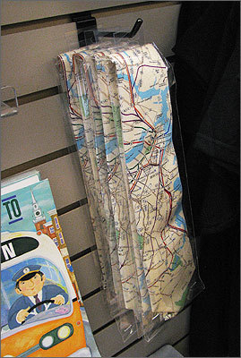 Items such as the T tie, which features a map of the subway system, have been on sale in the Beauchers' store since December.