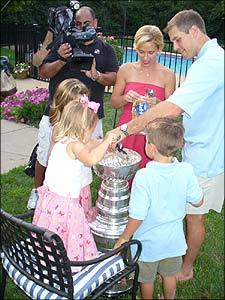 Ice cream! Recchi's teammate with the 2006 Hurricanes, Doug Weight, made a giant ice cream sundae with his family and ate the ice cream out of the bowl of the Cup.