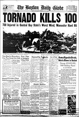 Worcester, June 10, 1953 The front page of The Boston Globe from June 10, 1953, recorded the most catastrophic tornado ever to hit central Massachusetts. The twister packed winds of up to 335 miles per hour, some of the strongest ever recorded. At precisely 5:09 p.m. an act of nature changed this city forever.