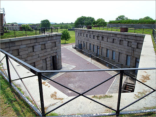 Many parts of the massive fort, seen here from the terreplein (roof level) atop Bastion C, remain much as they were during the 19th century, aside from the inevitable wear. Some changes were made as it continued to be used during the Spanish-American War, World War I and World War II.
