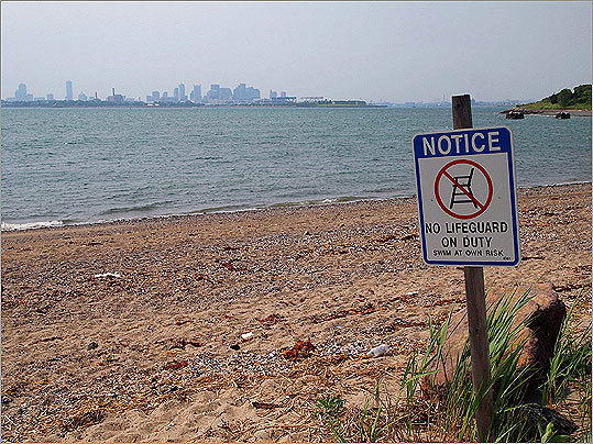 Part of the beach at Spectacle Island is open to swimmers, who can experience the ocean and the natural space around them all within sight of the downtown Boston skyline.