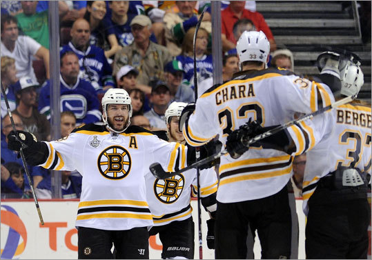 Right wing Mark Recchi gave the Bruins a 2-1 lead in the second period. Recchi deflected a shot past Roberto Luongo for his third goal of the playoffs.
