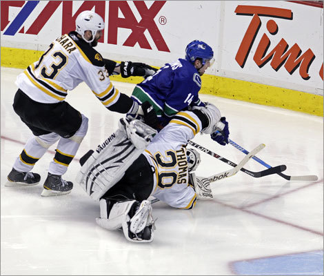 The winning sequence began when Alexandre Burrows raced to one side of the net, and Zdeno Chara and goalie Tim Thomas pursued him. Thomas was sent to the ice after hitting Burrows, and was unable to get back in front of the goal when Burrows regained control of the puck behind the net.