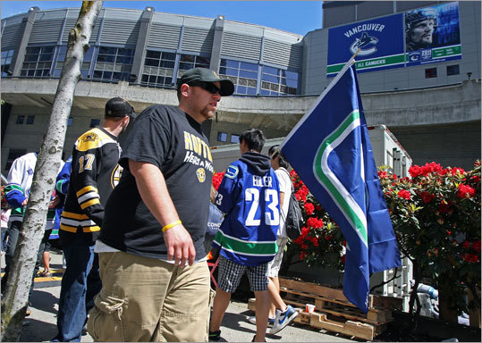Bruins and Canucks fans passed by each other outside of the arena before the gates opened.