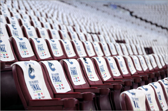 Towels with the Canucks logo were placed on every seat prior to Game 2.