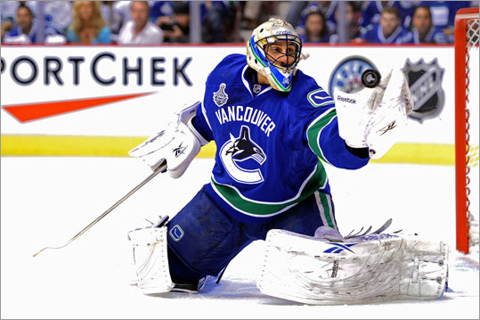 Canucks goalie Roberto Luongo faced 11 shots and stopped them all in the first period.