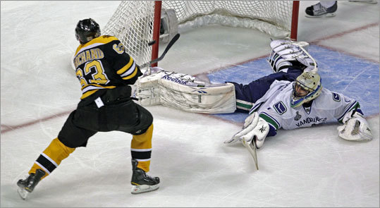 Bruins wing Brad Marchand beat Canucks goalie Roberto Luongo at 11:30 of the second period for a shorthanded goal that gave the Bruins a 3-0 lead in Game 3 of the Stanley Cup Final at TD Garden.