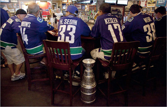 Vancouver Canucks fans invaded an unnamed Boston bar to wet their whistles before Game 3 of the Stanley Cup Final.