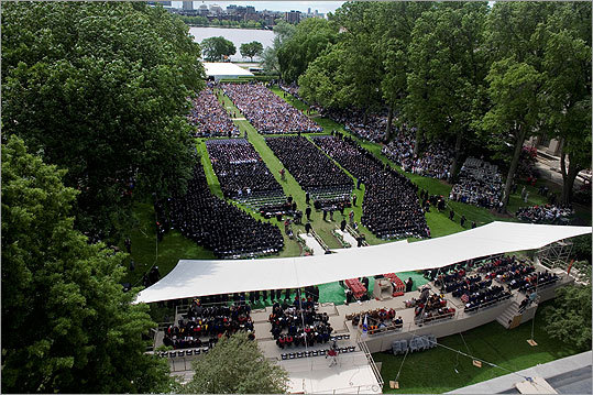 June 3: MIT Arial view of the commencement ceremony at MIT. Graduates, families, guests, and professors gathered at MIT's Killian Court for the event.