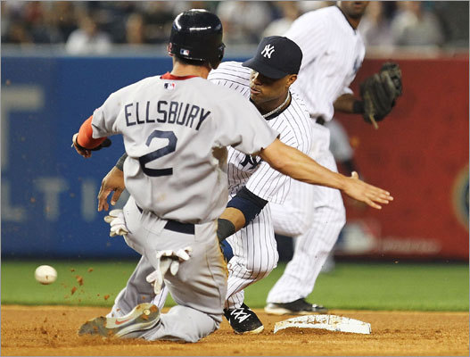 June 7: Red Sox 6, Yankees 4 Yankees second baseman Robinson Cano tagged out Jacoby Ellsbury on a steal attempt in the fourth inning.