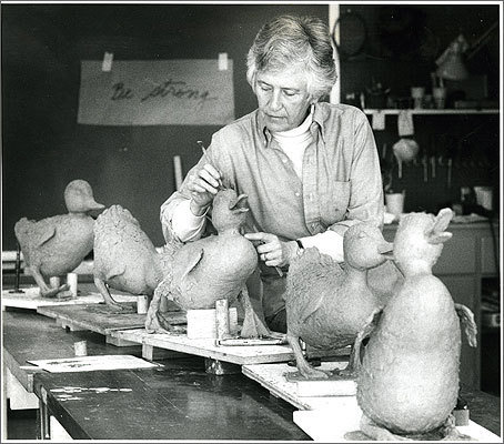 April 21, 1987 Photo by Frank O'Brien of the Globe staff Sculptor Nancy Schon works on the statues before they were installed in the Public Garden. A duplicate of her famous work is also on display in Moscow.