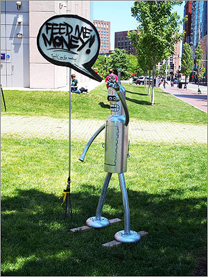 "FIGMENT Boston collected donations using a sculpture inspired by the character Bender from the cartoon ""Futurama."""