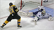 Brad Marchand beat Canucks goalie Roberto Luongo in the 2nd period