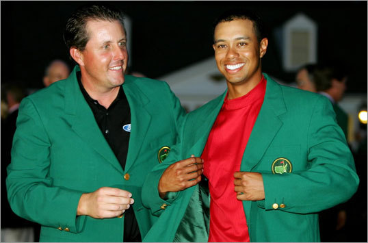 The Masters: Green Jacket What golfer hasn't quipped about winning the Green Jacket? Formally awarded since 1949, the green jacket is given in addition to a cash prize to the winner of the Masters, held every year at ultra-exclusive Augusta National Golf Club in Georgia. The jacket is the official attire worn by members of Augusta National, which makes every recipient and Masters winner an honorary member of the club. Sam Snead's first Masters title began the tradition. Phil Mickelson and Tiger Woods (pictured left to right) have won the green jacket a combined seven times.