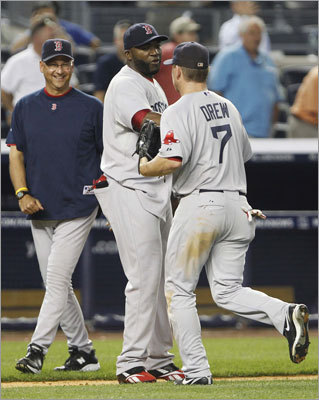June 8: Red Sox 11, Yankees 6 Manager Terry Francona and designated hitter David Ortiz congratulated teammate J.D. Drew after the Red Sox wrapped up their second straight win over the Yankees. the Red Sox have beaten the Yankees in seven of eight meetings this season.