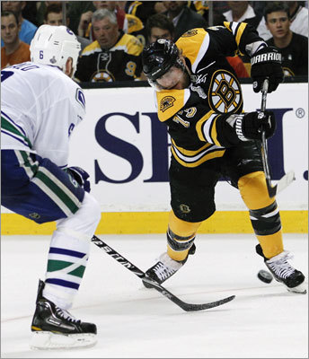 Bruins right wing Michael Ryder blasted his shot past defenseman Sami Salo for his seventh goal of the playoffs.