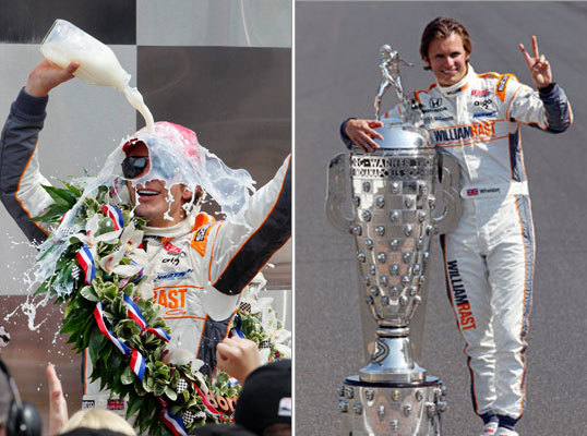 Indianapolis 500: Borg-Warner Trophy and bottle of milk Like the custom of several major sports trophies. winners of the Indy 500 like Dan Wheldon (left) are permanently honored on the championship trophy. In the case of Indy, however, each winner has his face etched on the trophy, which was donated by the Borg-Warner Automotive Company in 1935. Winners receive a smaller-sized replica. Prior to accepting the trophy, however, the Indy winner participates in one of sports' most unique celebrations, drinking from a bottle of milk on Victory Lane. The tradition was begun by three-time winner Louis Meyer, who was photographed gulping some after a win and a milk company executive seized on a promotional opportunity.
