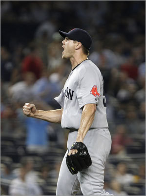 June 7: Red Sox 6, Yankees 4 Red Sox reliever Jonathan Papelbon pitched the ninth inning and earned his 12th save of the season and his 200th of his career. Papelbon set a record as the fastest to reach the 200-save mark.