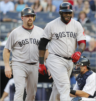June 8: Red Sox 11, Yankees 6 Designated hitter David Ortiz (right) got the Red Sox off to a good start with a two-run homer in the first inning of middle game of Boston's series vs. the New York Yankees, Kevin Youkilis scored on the hit, and the Red Sox went on to an 11-6 victory at Yankee Stadium.
