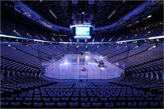 Rogers Arena was empty a few hours before the start of the game.