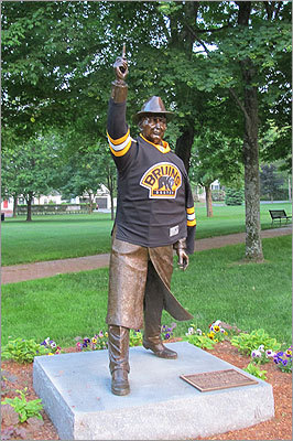 When the Bruins made it to the Stanley Cup Finals against the Vancouver Canucks, Bruins pride showed up around Boston. The showed its support and pride for the team by dressing famous sculptures with Bruins gear. Take a look at some of the photos. A sculpture of George V. Brown showed its Bruins pride at the starting line of the Boston Marathon in Hopkinton. Brown was a huge proponent of the marathon and other sports - hockey was his favorite. In the Bruins earliest days, he was the general manager of the Boston Garden and promoted the team there.