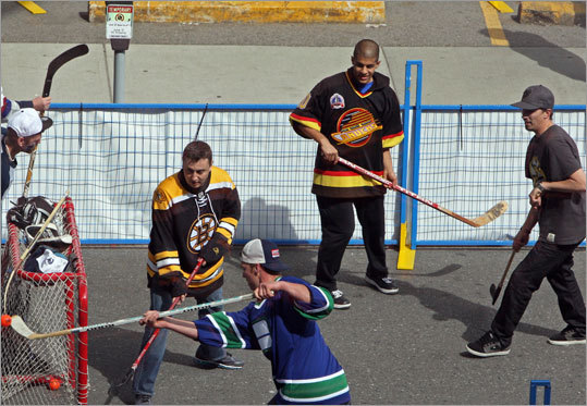 It was the Bruins vs. the Canucks outside the arena as well, with street hockey players going head-to-head prior to Game 5 of the Stanley Cup Final.