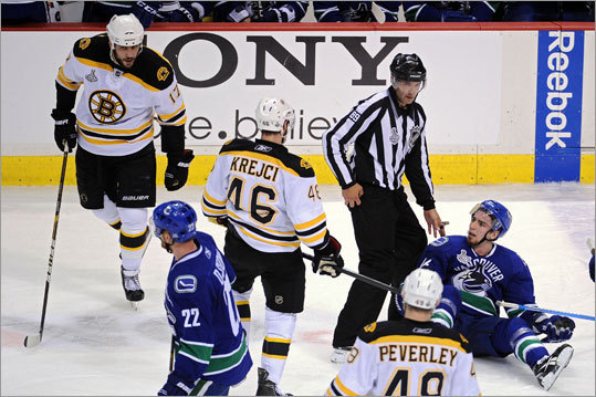Alex Burrows (on ice) and Milan Lucic (far left) both received a penalty after tussling prior to a faceoff in the final minute of the first period. Lucic was called for tripping, and Burrows for unsportsmanlike conduct for his flop following contact with Lucic.
