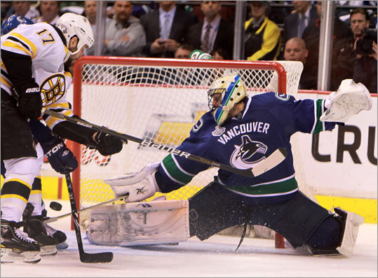 Canucks goalie Roberto Luongo lost his stick as he tried to stop the Bruins' Michael Ryder from wrapping the puck around the pipe in the second period.