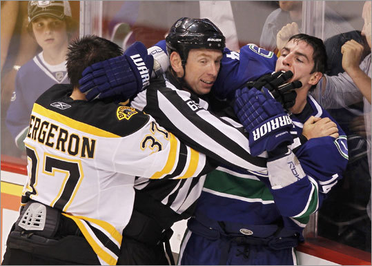 Bite heard 'round the rink Game 1: Canucks 1, Bruins 0 A fight between Bruins center Patrice Bergeron and Canucks left wing Alex Burrows resulted in a controversial bite. Bergeron said Burrows's bite left him with a cut on his finger, but Burrows said he didn't think he bit any fingers. The league ruled Burrows would not be suspended, despite a precedent for a one-game suspension for biting. 'After reviewing the incident, including speaking with the on-ice officials, I can find no conclusive evidence that Alex Burrows intentionally bit the finger of Patrice Bergeron,' Mike Murphy, senior VP of hockey operations, said.