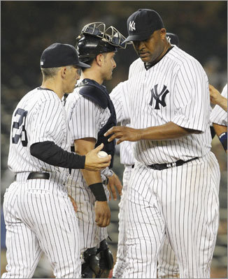 June 9: Red Sox 8, Yankees 3 CC Sabathia never finished the seventh inning, leaving runners on first and third with two outs. Yankees reliever David Robertson allowed a two-run single to Kevin Youkilis and an RBI double to David Ortiz before the inning ended.