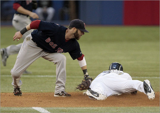 June 10: Red Sox 5, Blue Jays 1 Toronto's Jayson Nix beat the tag of Dustin Pedroia and was safe at second on a steal attempt in the third inning.