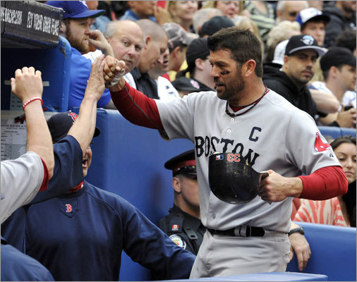 June 11: Red Sox 16, Blue Jays 4 Catcher Jason Varitek clubbed a three-run homer in the fifth inning as the Red Sox rallied for seven runs and took a 12-2 lead in the second game of their series in Toronto.