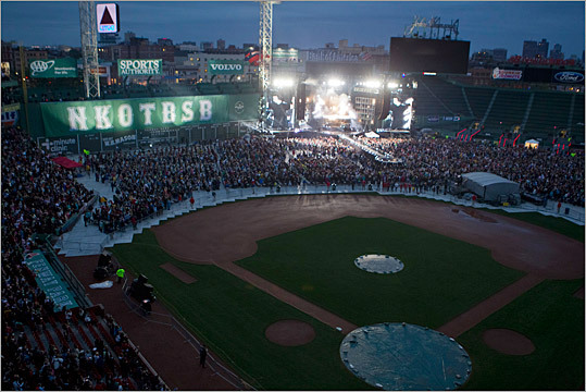 NKOTBSB took over the Green Monster and the outfield with their elaborate show while fans screamed from the field and stands.