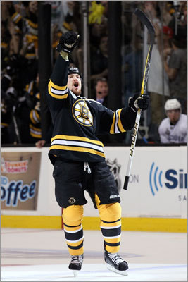 Bruins defenseman Andrew Ference celebrated after scoring the third goal of the game, giving the Bruins a 3-0 lead.