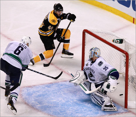 Bruins center David Krejci scored his first goal of the game and the fifth of the game for the Bruins in the third period to seal the win.