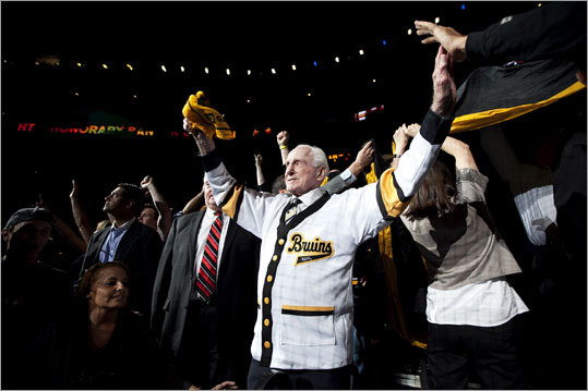 Bruins legend Milt Schmidt was the honorary captain for Game 6, and he waved to the crowd as the ceremonial banner was passed around the crowd.