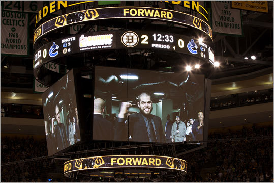 Injured Bruins forward Nathan Horton provided the home crowd and his teammates with a little inspiration by making an appearance at Game 6. Horton suffered a concussion in Game 3 and was sidelined for the rest of the playoffs.