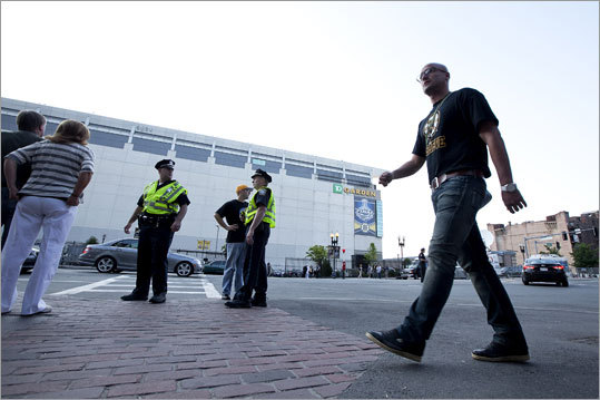 Police were stationed around the TD Garden before the start of the game as fans began to arrive to watch at nearby establishments.