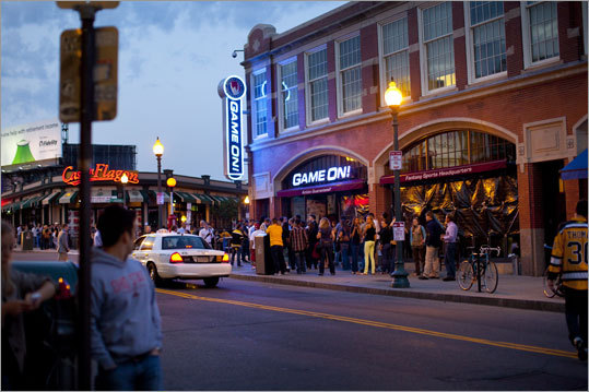 As gametime approached, crowds lined up outside of the sports bars near Fenway Park to watch the Bruins play.