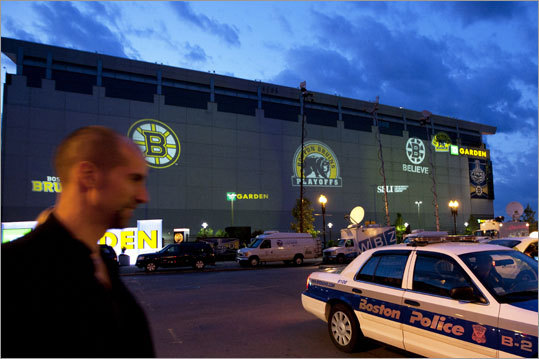 With the game under way, Boston police and media remained outside of the TD Garden.