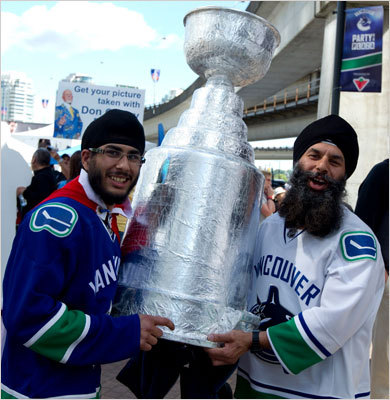 Canuck fans carried a tin foil Stanley Cup outside of Rogers Arena prior to Game 7.