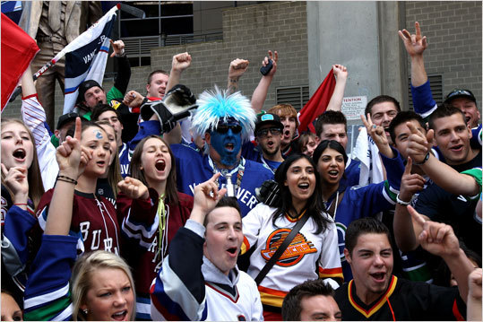 Vancouver Canucks fans cheered outside of the arena prior to Game 7.