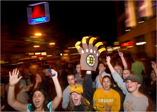 Bruins fans poured into Kenmore Square to celebrate the Bruins' win in the Stanley Cup. Police were out in force, and though the crowd was rowdy, they remained non-violent.