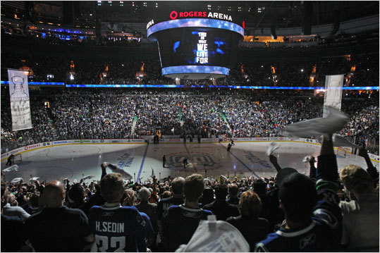 The crowd was pumped as the pregame light show was presented at the Rogers Arena.
