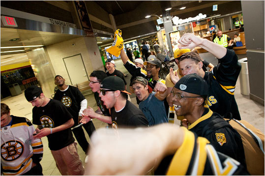 Fans chant 'We want the cup!' at the television screen at Emack and Bolio's in North Station after the Bruins scored their third goal in the second period.