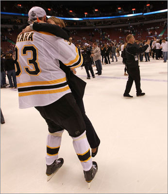 Zdeno Chara picked up his wife and hugged her during the celebration on the ice.